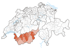 Map of Switzerland, location of ایالت وله highlighted