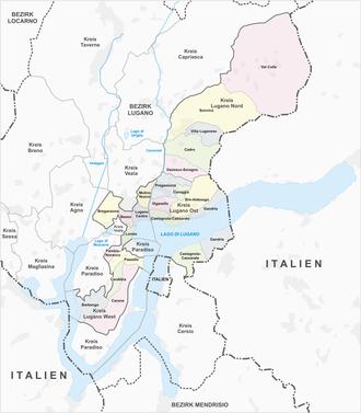 Subdivisions of the canton of Ticino - Quartieri of Lugano