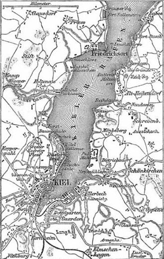Kieler Förde - Historical map of the vicinity of Kiel, ca. 1888.