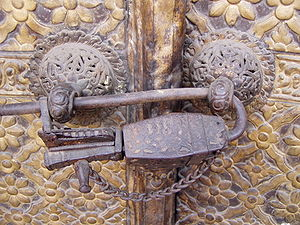 Lock (security device) - Medieval lock in Kathmandu