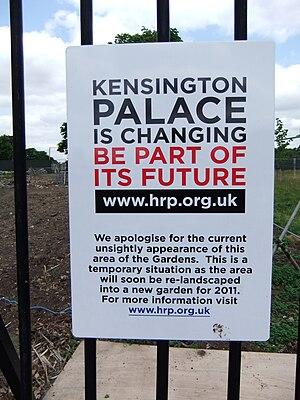 Tempoorary sign at Kensington Palace, London.