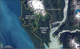 Coeur Alaska, Inc. v. Southeast Alaska Conservation Council - The boundary of the Kensington Mine Lease and the proposed Julian Mine.