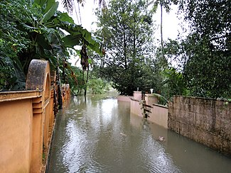 Street flooded in Kerala