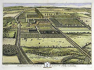 Brympton d'Evercy - Brympton d'Evercy from the south around 1722 by Jan Kip and Leonard Knyff.