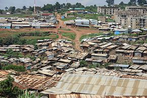A photo of rooftops and streets in Kibera
