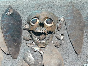 Child sacrifice in pre-Columbian cultures - Aztec burial of a sacrificed child at Tlatelolco.