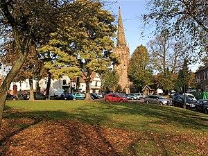 Kings Norton - Kings Norton Green and St Nicolas Church viewed in Autumn