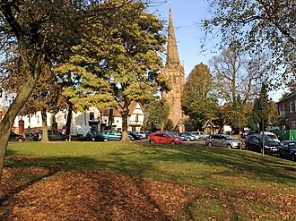 Kings Norton - Kings Norton Green and St Nicolas Church viewed in Autumn