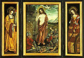 La résurrection du Christ, Sainte Barbara, Sainte Catherine, triptyque de Lucas Cranach l'Ancien