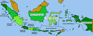 Military district - Kodam districts as of 2007 in Indonesia