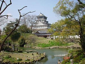 Kokura castle from the Japanese garden