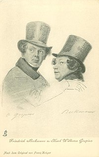 Karl Wilhelm Gropius (left) with the comic actor Friedrich Beckmann [de]: a postcard by Franz Krüger (Source: Wikimedia)