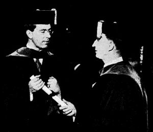 Max Mason - Crown Prince Gustaf Adolf of Sweden receives his doctor's diploma as an honorary doctorate from the University of Chicago from the university's president, Professor Max Mason, 1926