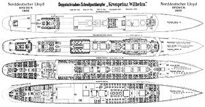 SS Kronprinz Wilhelm - Deck plans from 1908