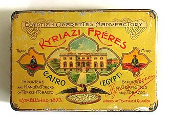 Egyptian cigarette industry - A nineteenth-century, tin box of Kyriazi Frères brand, Egyptian cigarettes