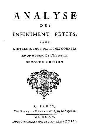 Guillaume de l'Hôpital - Analyse des Infiniment Petits pour l'Intelligence des Lignes Courbes, 1715