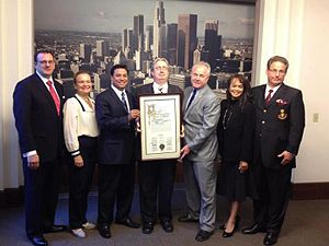 Mark Anchor Albert - Mark Albert (right) with Los Angeles City Council members Jose Huizar and Tom LaBonge and members of the Queen of Angels Foundation board of directors