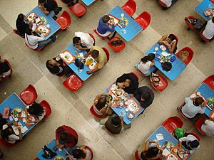 Food court - Patrons eat meals in a food court in Caracas, Venezuela.