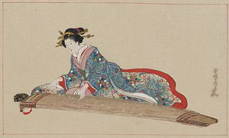 Koto (instrument) - An 1878 depiction by Settei Hasegawa of a woman playing the koto.