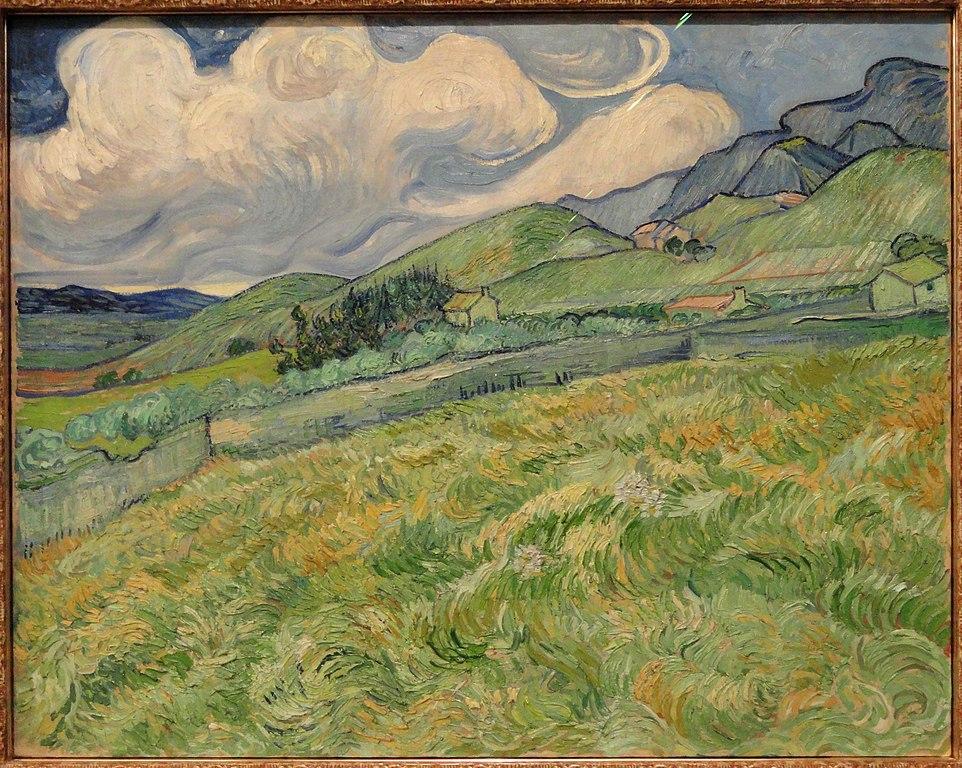 > Oeuvre de van Gogh «Paysage montagneux derrière l'hopital Saint Paul» (1889).Musée Ny Carlsberg Glyptoteket dans le centre de Copenhague.