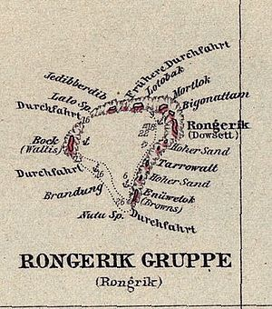 Rongerik Atoll - Map of Rongerik Atoll, taken from the 1893 map 'Schutzgebiet der Marshall Inseln', published in 1897.