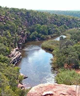 Waterberg Biosphere - River gorge in the Lapalala Wilderness of the Waterberg showing horizontal sandstone layering