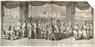 Timeline of İzmir - Audience by the Qadi of the French Consul of İzmir in a 17th-century engraving by Jean du Mont