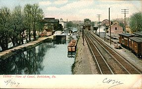 Tinted photo of the canal and train tracks