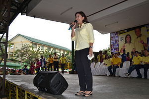Leni Robredo - Robredo delivering a speech during a LP campaign rally in Quezon City, February 17, 2016