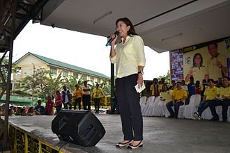 Mar Roxas presidential campaign, 2016 - Robredo delivering a speech in a LP campaign rally in Quezon City on February 17, 2016.