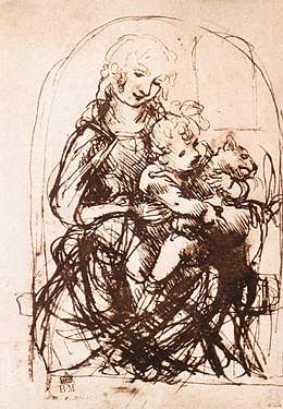 Leonardo da Vinci, Study for the Madonna of the Cat (recto).jpg