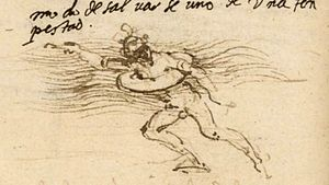 History of swimming - Lifebelt sketch by Leonardo da Vinci (circa 1488–90).