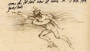 History of swimming - Lifebelt sketch by Leonardo da Vinci (circa 1488–90).