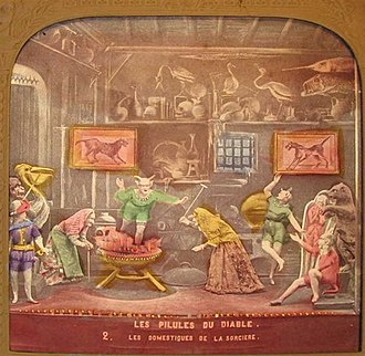 Féerie - Stereo card of a scene from Les Pilules du diable