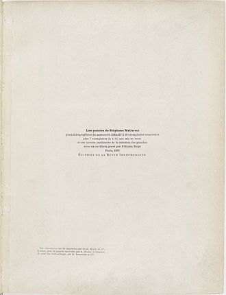 Poésies (Mallarmé collection) - First edition title page