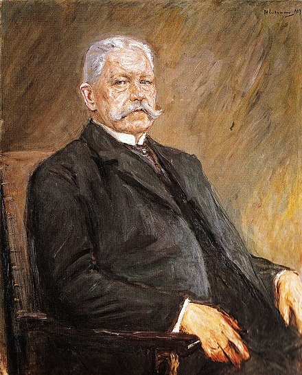 Paul von Hindenburg, president 1925-1934, painted by Max Liebermann in 1927. Liebermann portret van Paul von Hindenburg.jpg