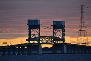James River Bridge - The current bridge's lift span at sunset