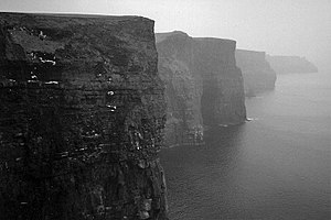 Scottish mythology - Ceann Caillí ('Hag's Head'), the southernmost tip of the Cliffs of Moher in County Clare. One of many locations named for the Cailleach