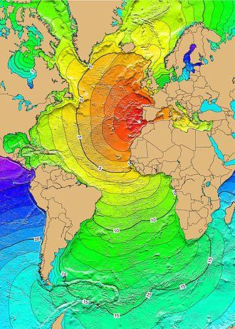1755 Lisbon earthquake - Calculated travel times for the tsunami waves of 1 November 1755.
