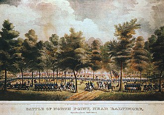 Battle of North Point - Image: Lithograph of painting by Thomas Ruckle