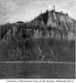 Lobsticks or Monument Trees on the skyline, Athabaska River.png