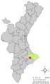 Localització de Castell de Castells respecte del País Valencià.png