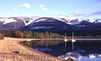 National parks of Scotland - Loch Morlich in the Cairngorms National Park.