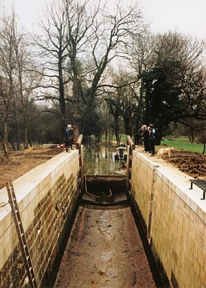 Wey and Arun Canal - Malham lock undergoing restoration