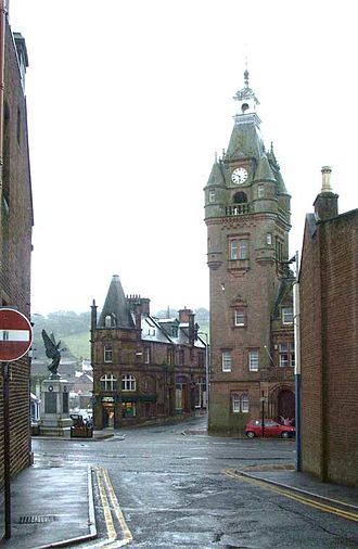"Lockerbie - Lockerbie war memorial, ""Tower"" chip shop, and town hall, 2006"