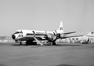 American Flyers Flight 280 - An American Flyers L-188 at Lindbergh Field (1963)