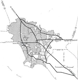 Interstate 405 (California) - 1955 map of the planned Interstates in the Los Angeles area. Present-day I-405 roughly corresponds to the 1955 proposed route through the western regions of the area.