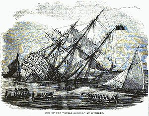 First-rate - The first-rate Royal George sank at anchor in 1781 after she was flooded through her lower gunports.