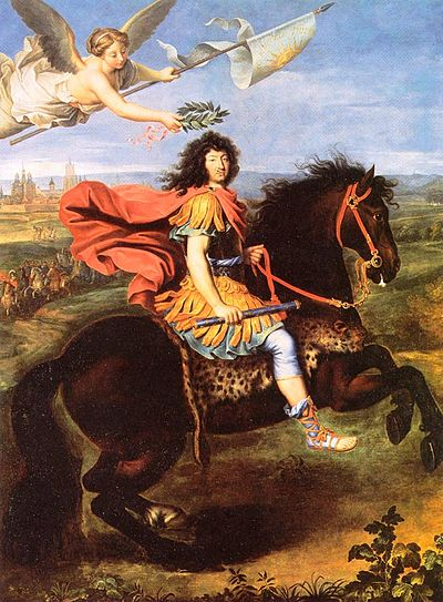 Louis XIV at Maastricht, 1673, by Pierre Mingard; this shows the importance Louis attached to the propaganda value of siege warfare. Louis XIV of France being crowned by victory after the 1673 Siege of Maastricht by Pierre Mignard.jpg