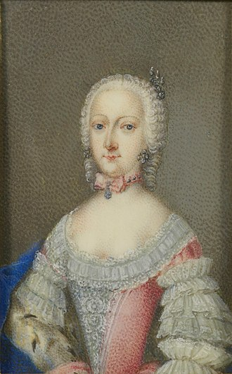 Princess Louise of Denmark (1726–1756) - Miniature of the princess inspired by a portrait painted around the time of her marriage